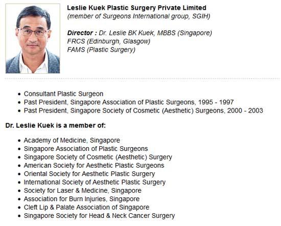 Dr. Leslie Kuek Biography