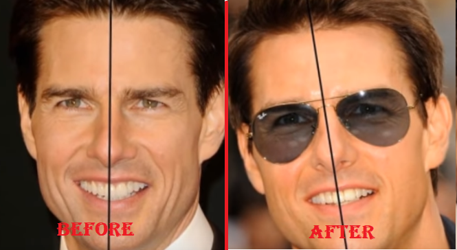 Tom Cruise right tooth in middle